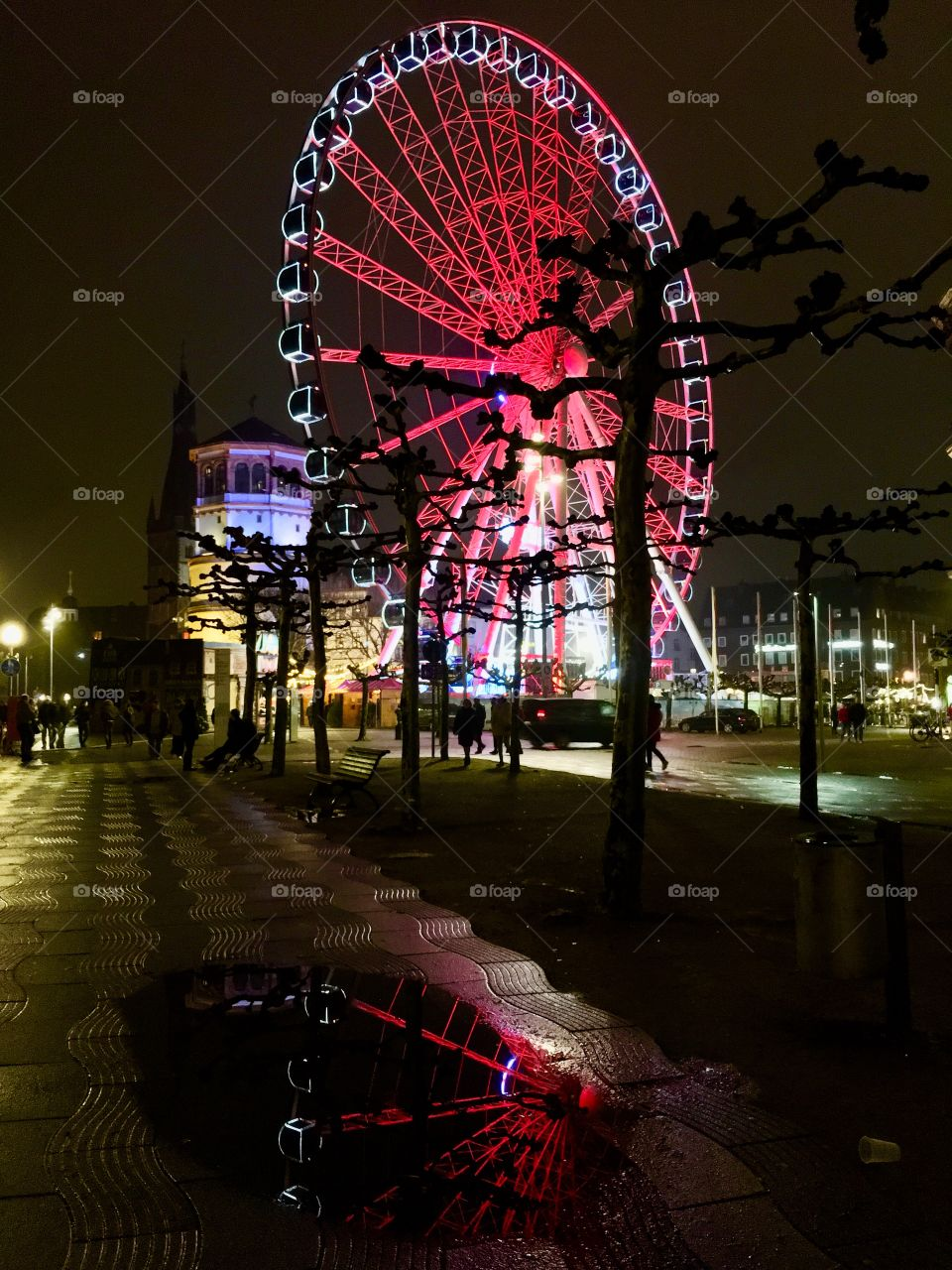 Beautiful Ferris wheels from far