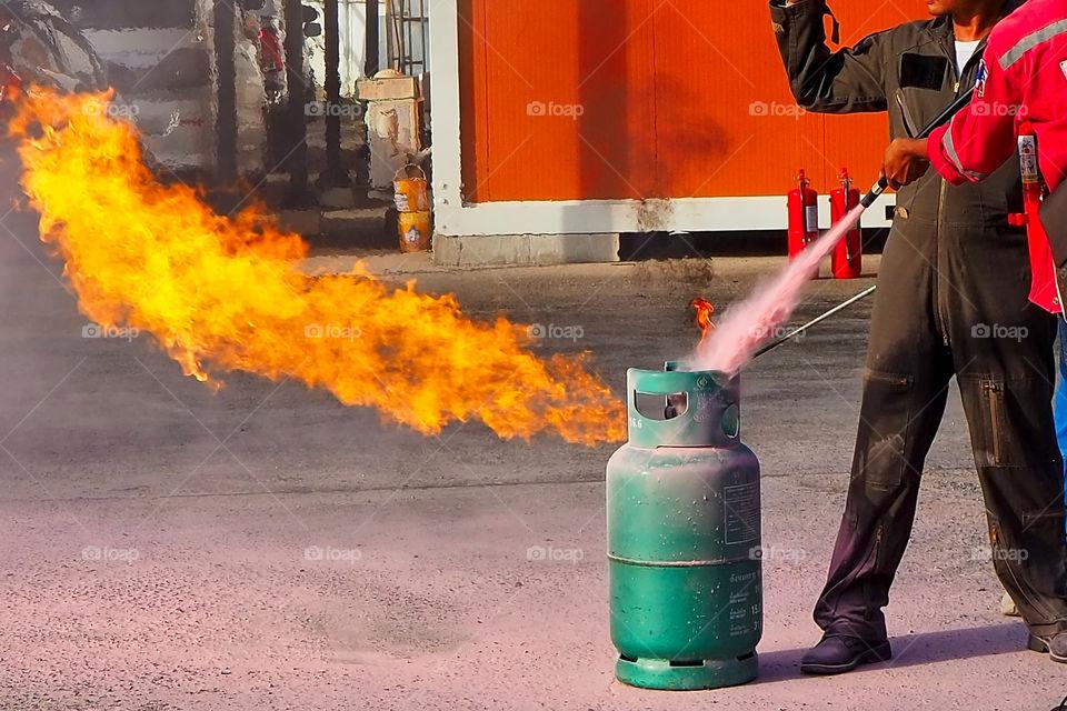 Proper fire extinguishing drill