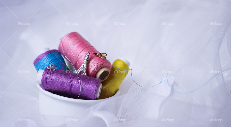 sewing kit thread eiffel tower