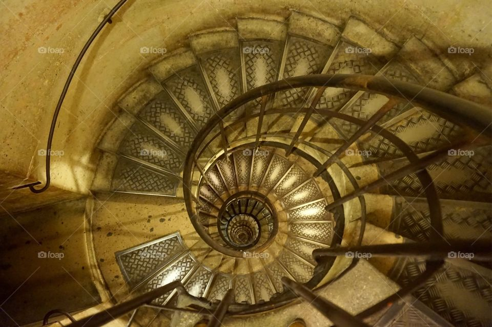 Stairway to the top of the Arc de Triomphe, Paris