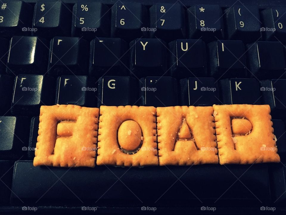 FOAP made with Scrabble Cheez its on a black keyboard