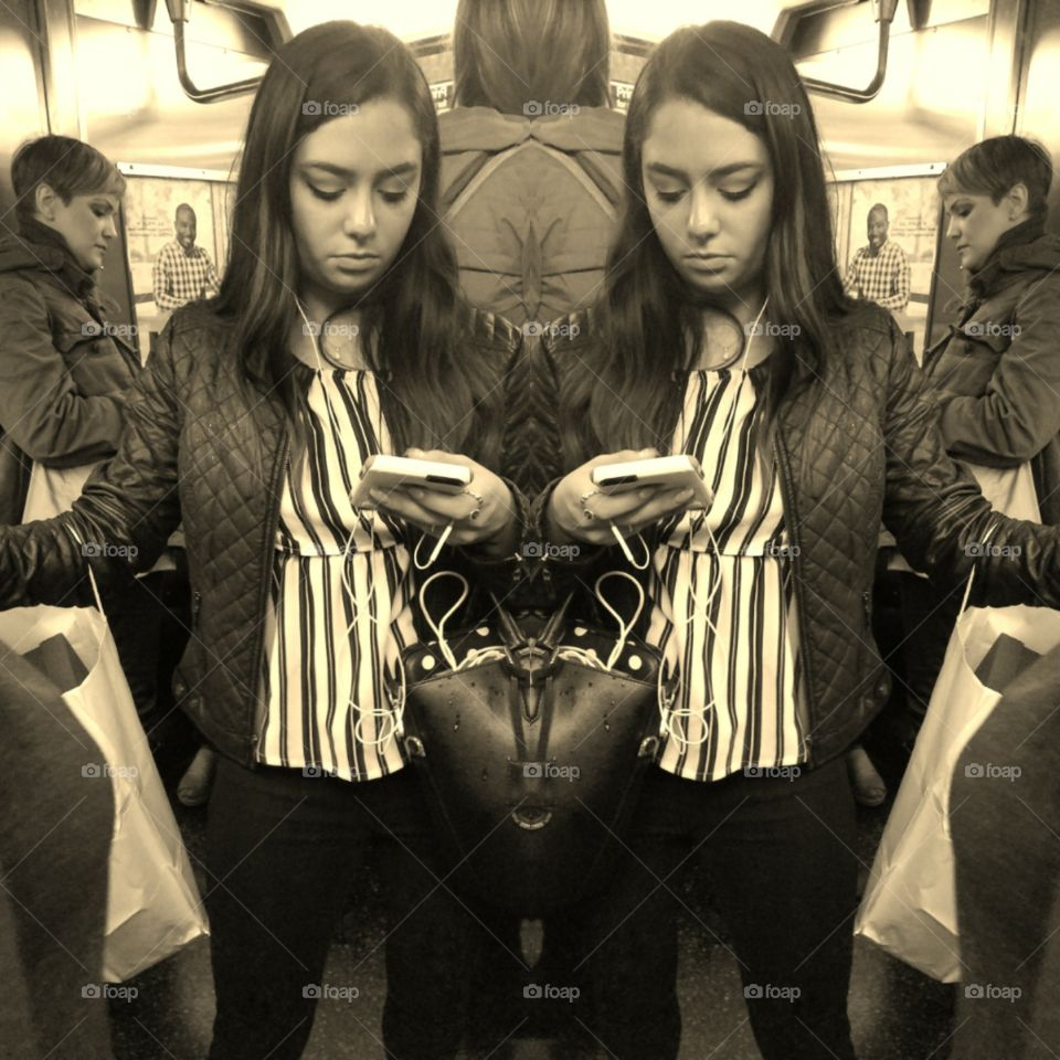 Girl Riding Subway in NYC Looking at her Phone. Photo Collage.