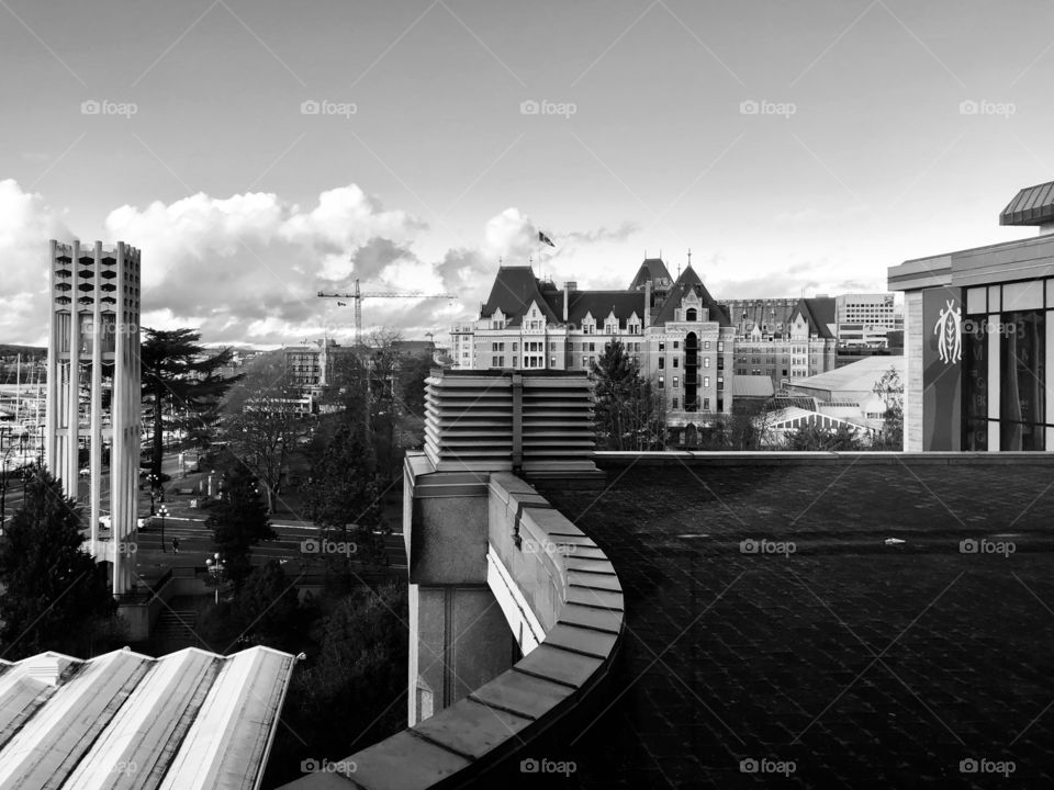 Beautiful Downtown Victoria Harbour Black And White Photography Royal British Columbia Museum