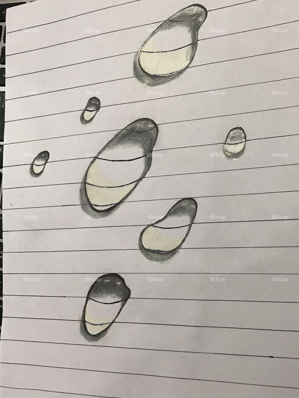 Water drop on paper by drawing