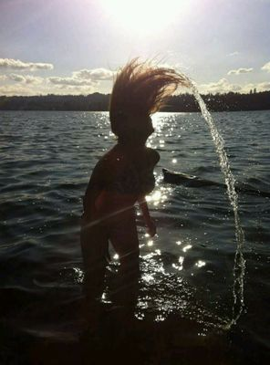 Fun in the Water Pt. 1. My cousin wanted to see if she could do the water hair flip like in the movies.