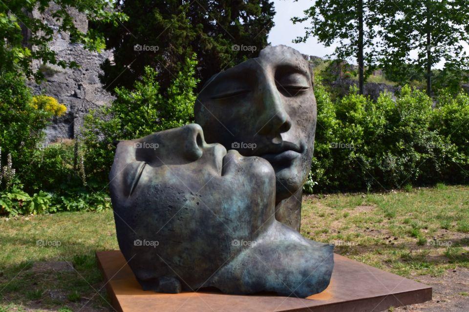 Pompeii face sculptures