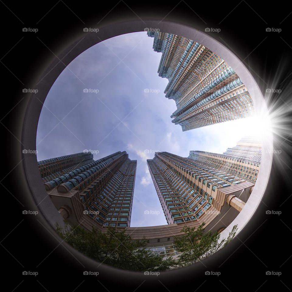 architecture   city, fisheye, street, light