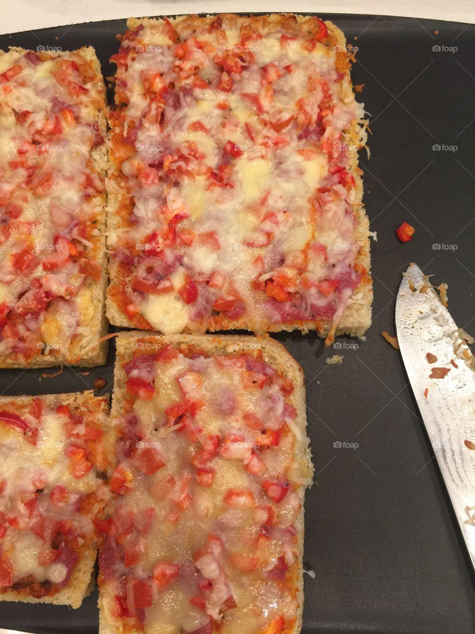 Homemade pizza making