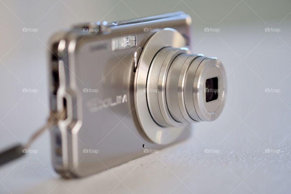 Casio Exilim Silver Digital Camera, Closeup Shot