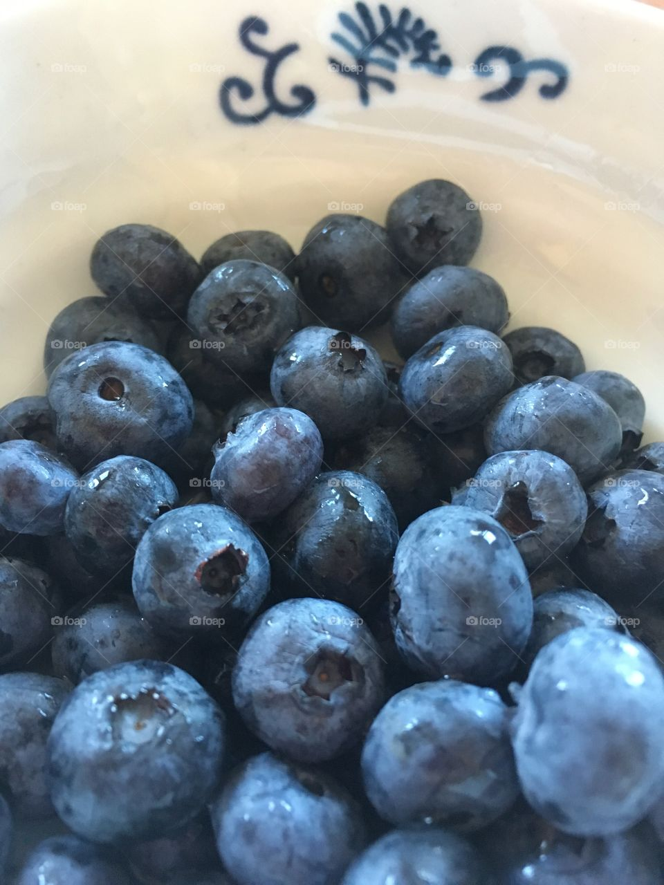 Blueberries in a white ceramic bowl with blue details.  Close up