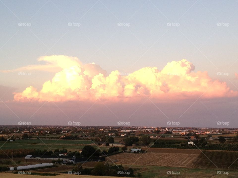 Landscape from home. Sunset across my home,Bertinoro,Italy