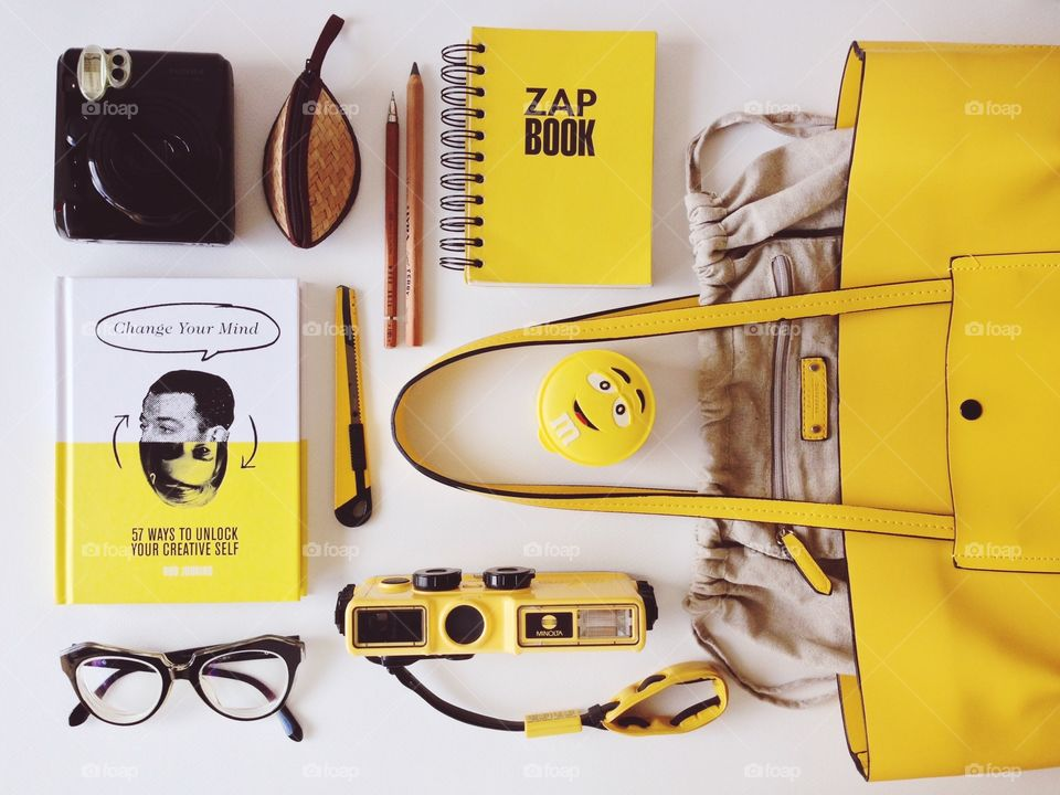 Yellow stuff in my bag. What's in your bag? In my bag with fun yellow items
