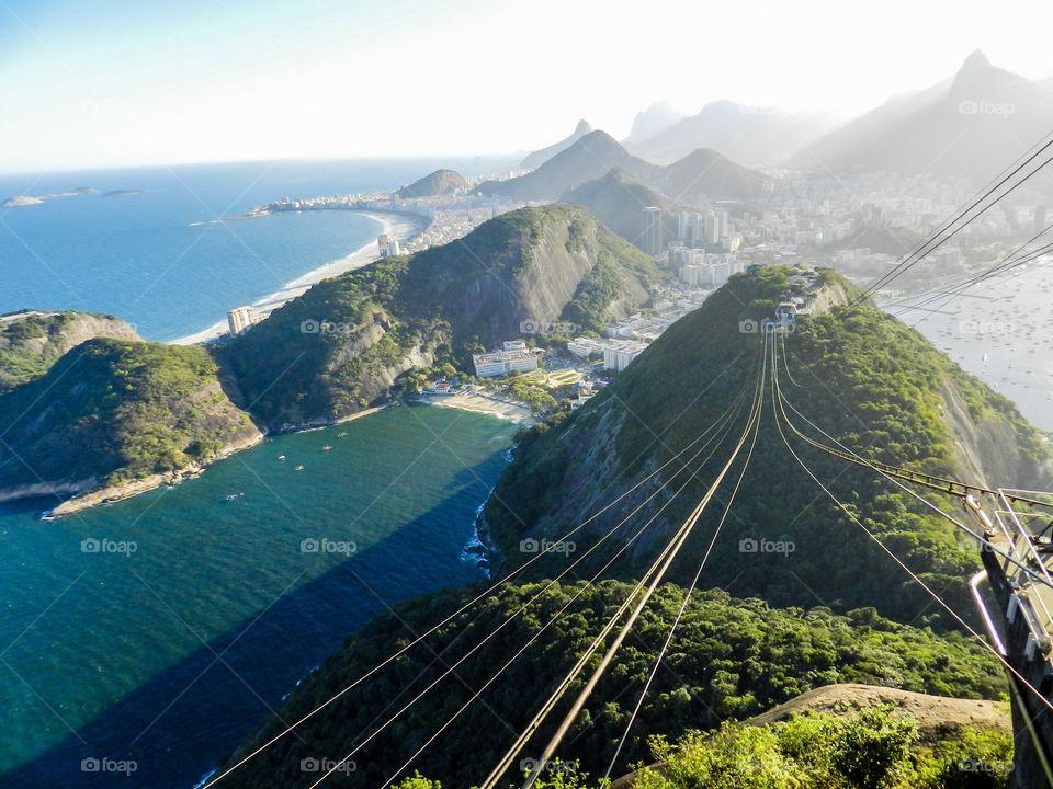 Cable car above Rio de Janiero from Sugarloaf