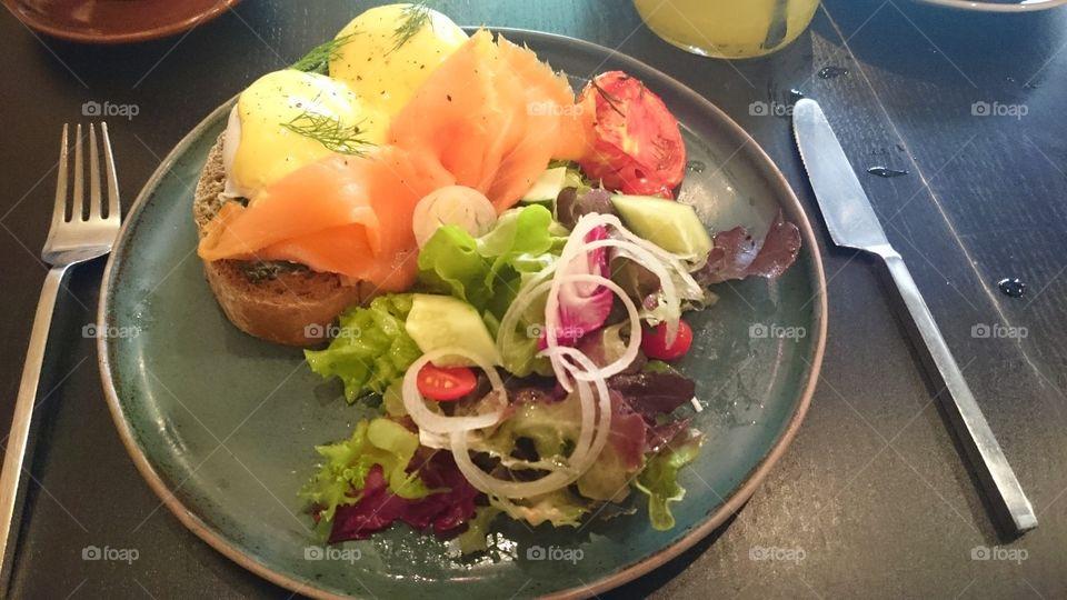 eggs Benedict . valentines breakfast