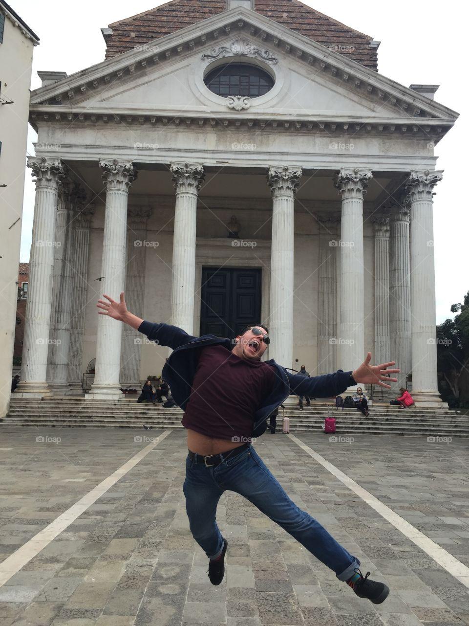 Happy To Be Here.  Santa Croce. Venice, Italy
