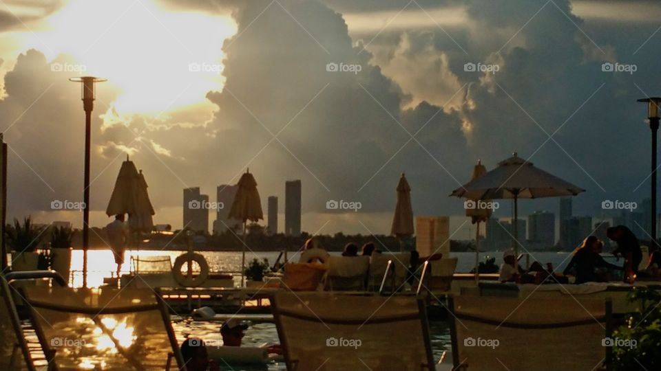 The golden hour from the patio of Mondrian resort looking over towards Miami