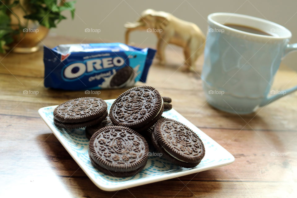 Oreo Snack with a cup of coffee