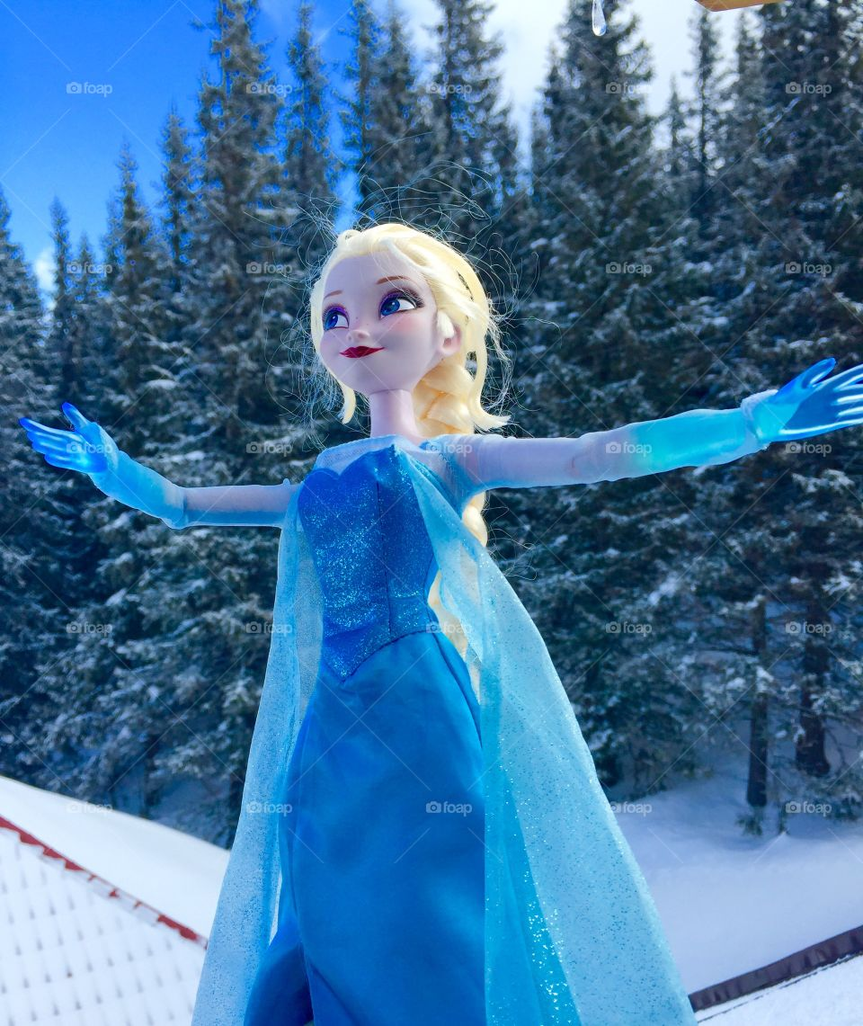 Elsa toy in the snow