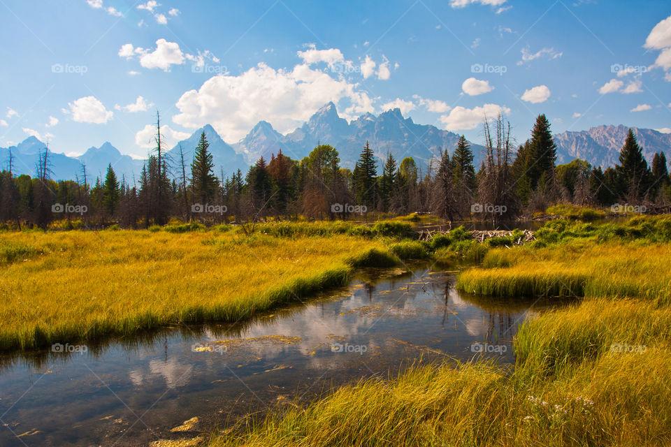 Teton mountain in grand Teton national park