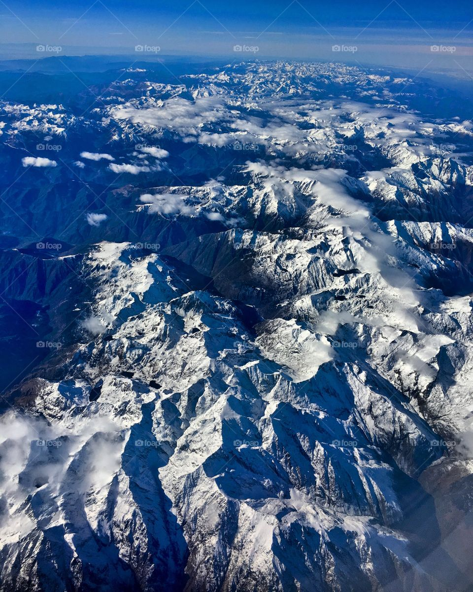 High angle view of mountain in winter
