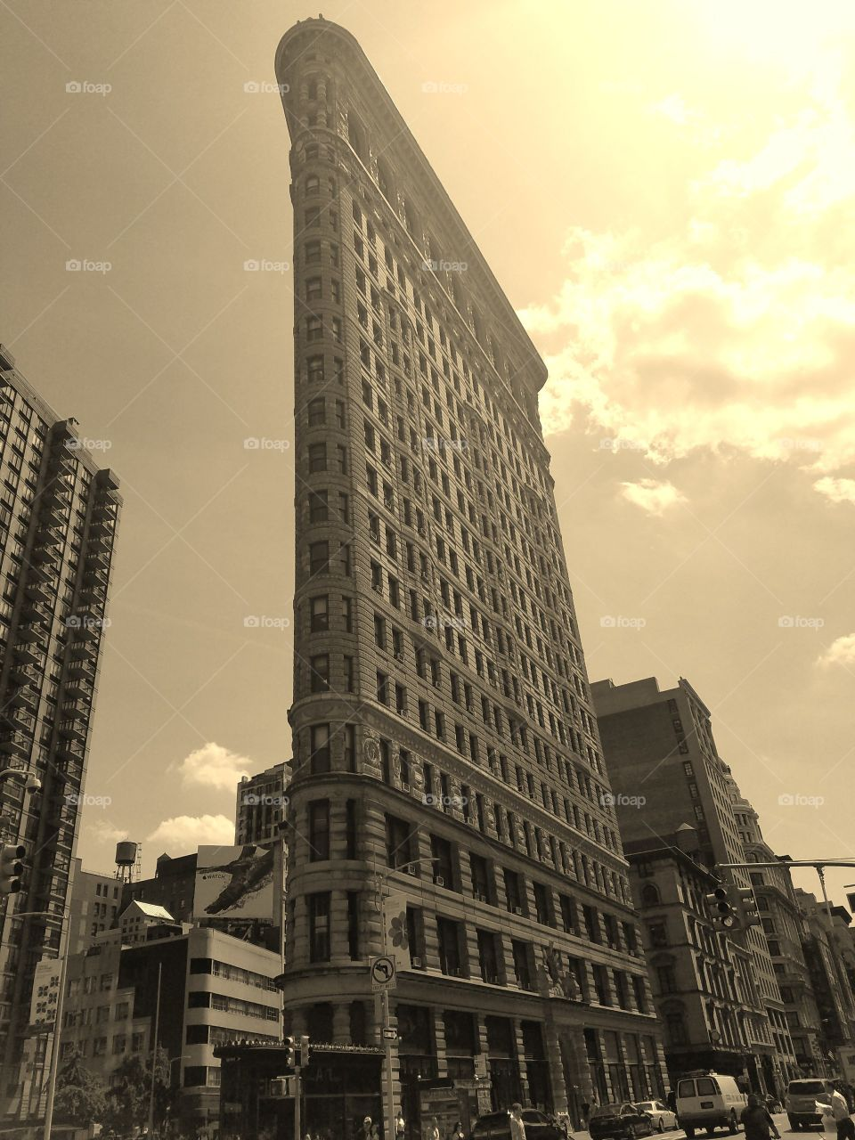 Flatiron Building on 23rd Street near Madison Square Park - Sepia Filter - May 19th 2017 in the afternoon