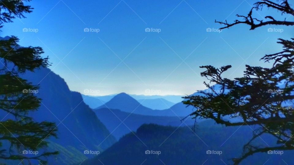 Beautiful blue hour over looking mountains, valleys, hills, terrains and plateaus with blue sky above and trees on the side.