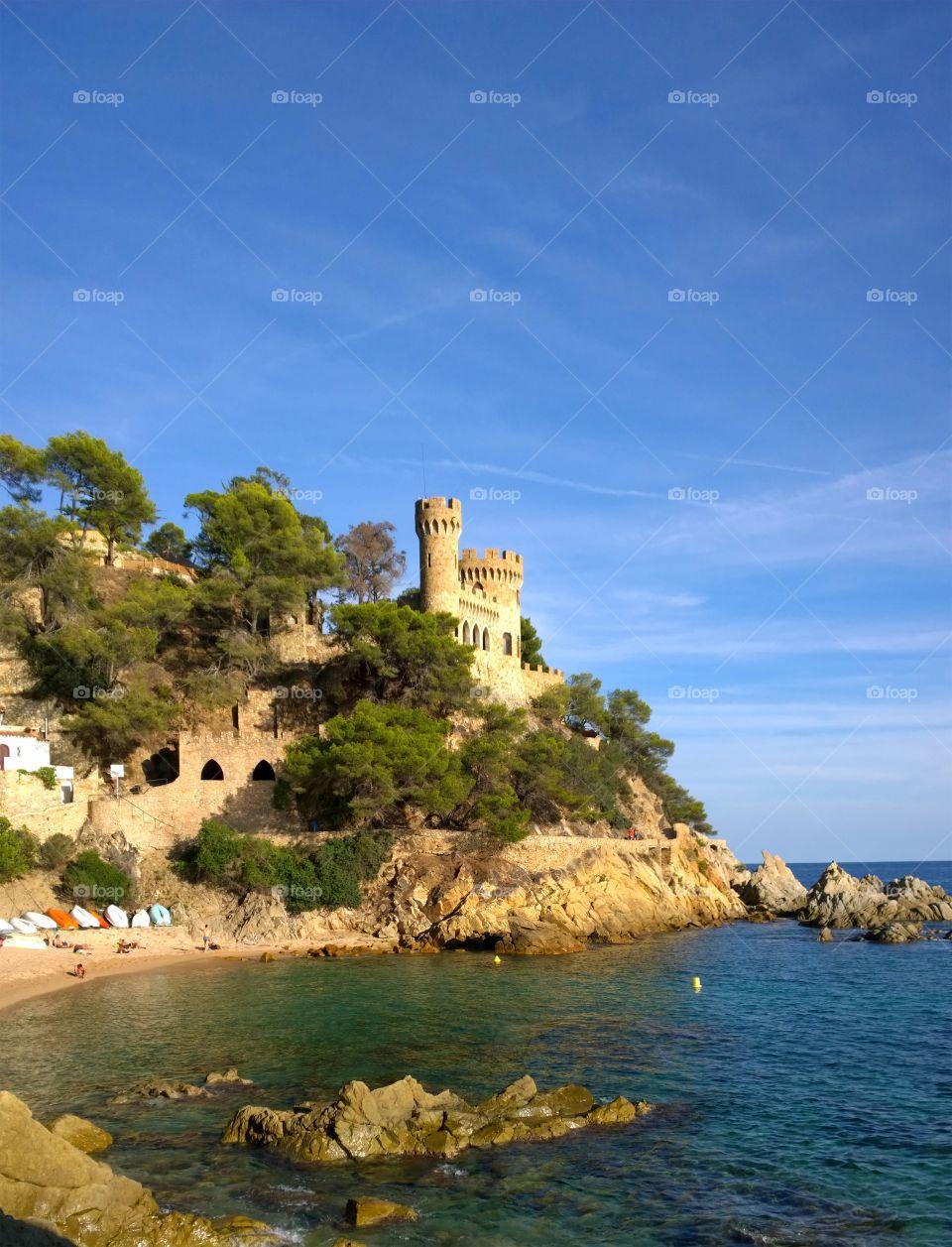 Castle in Lloret de Mar, Spain. Landscape of the Castle and Beach in Lloret de Mar, Costa Brava, Girona, Spain