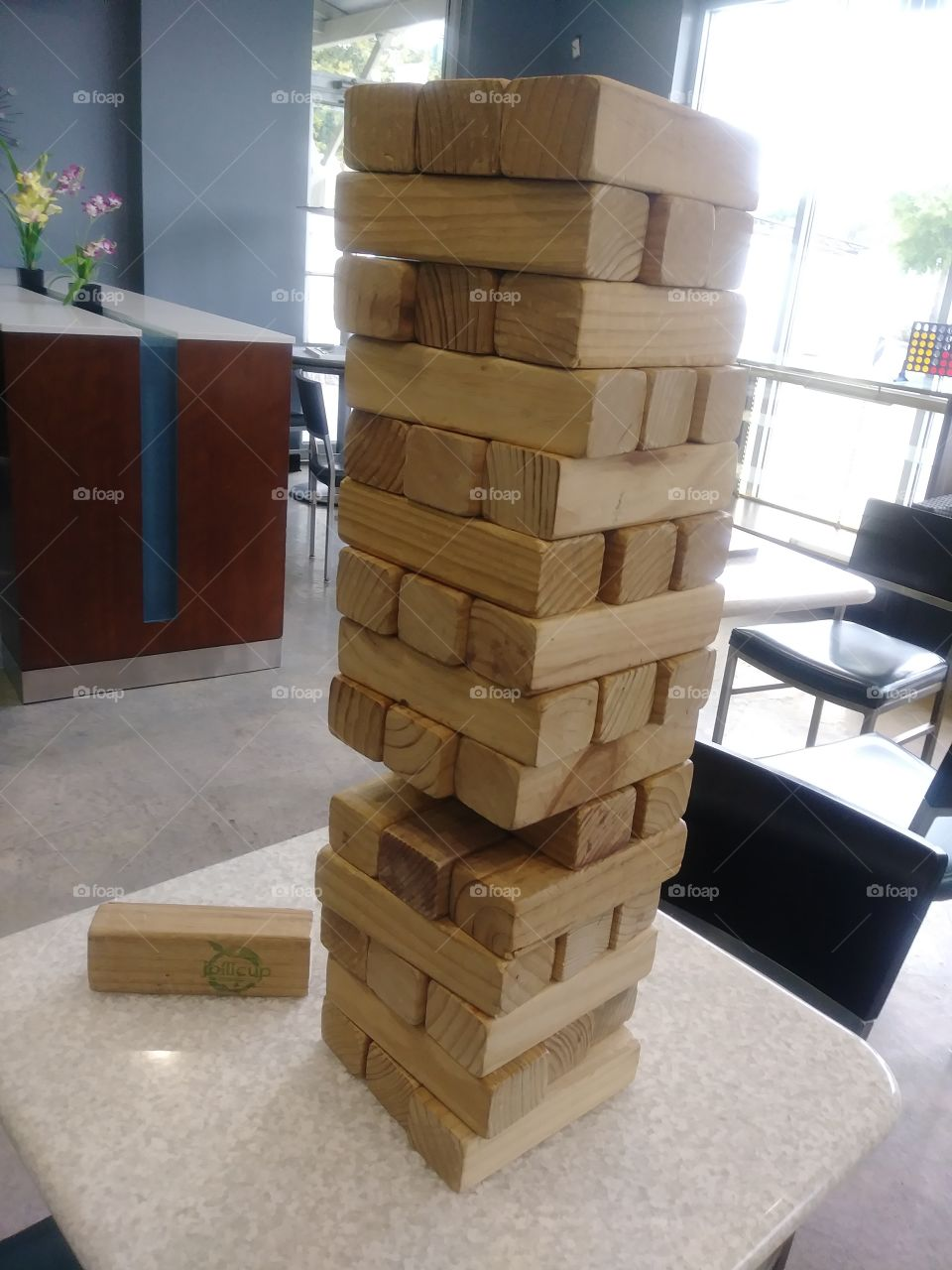 A game of Jenga. Wood game blocks stacked.