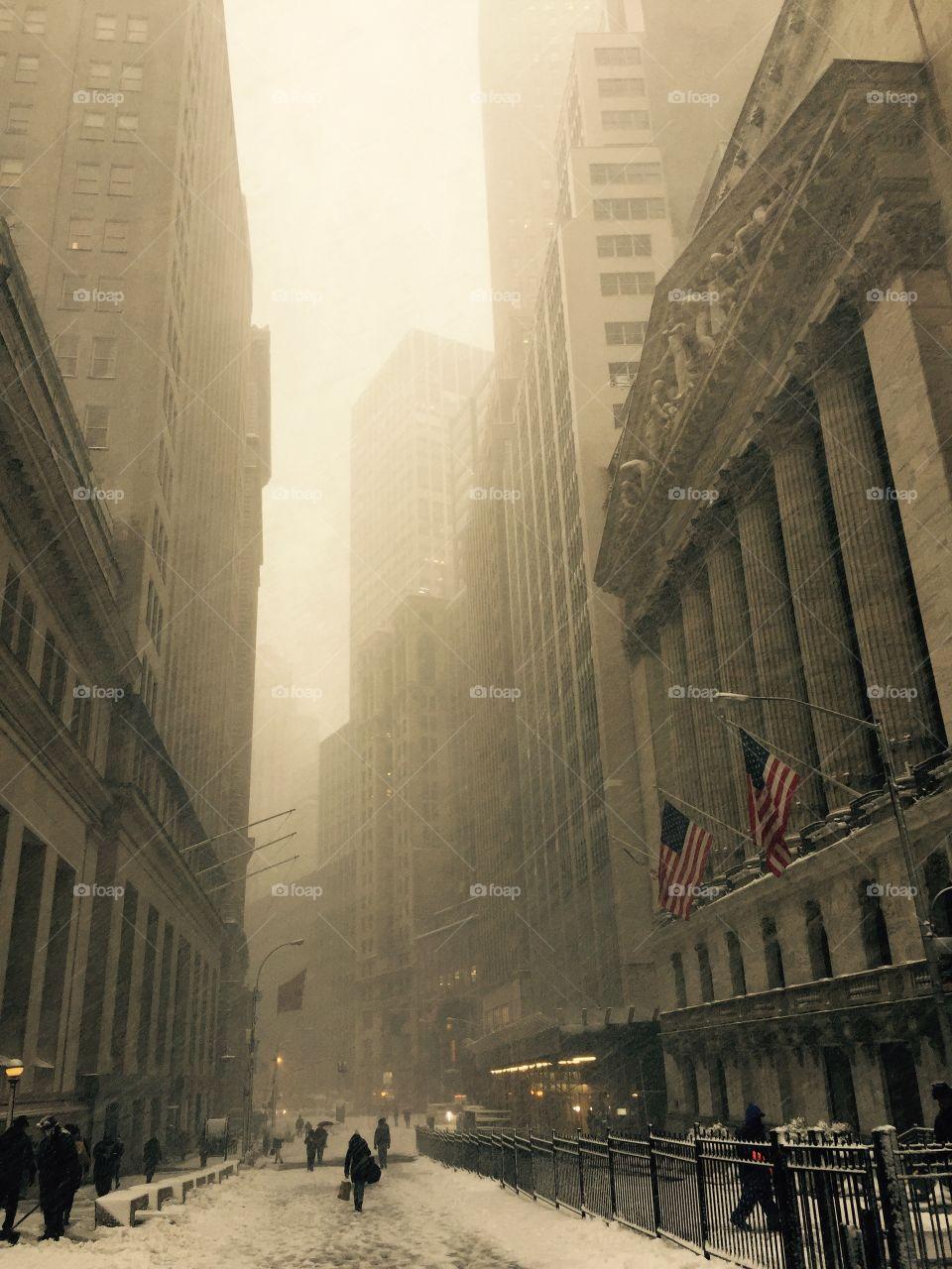 Snowy Wall Street day