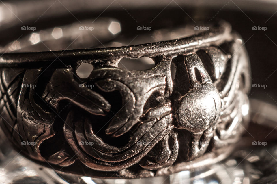 Macro view silver medieval male ring. Reconstruction viking retro jewelery from Birka in Sweden.