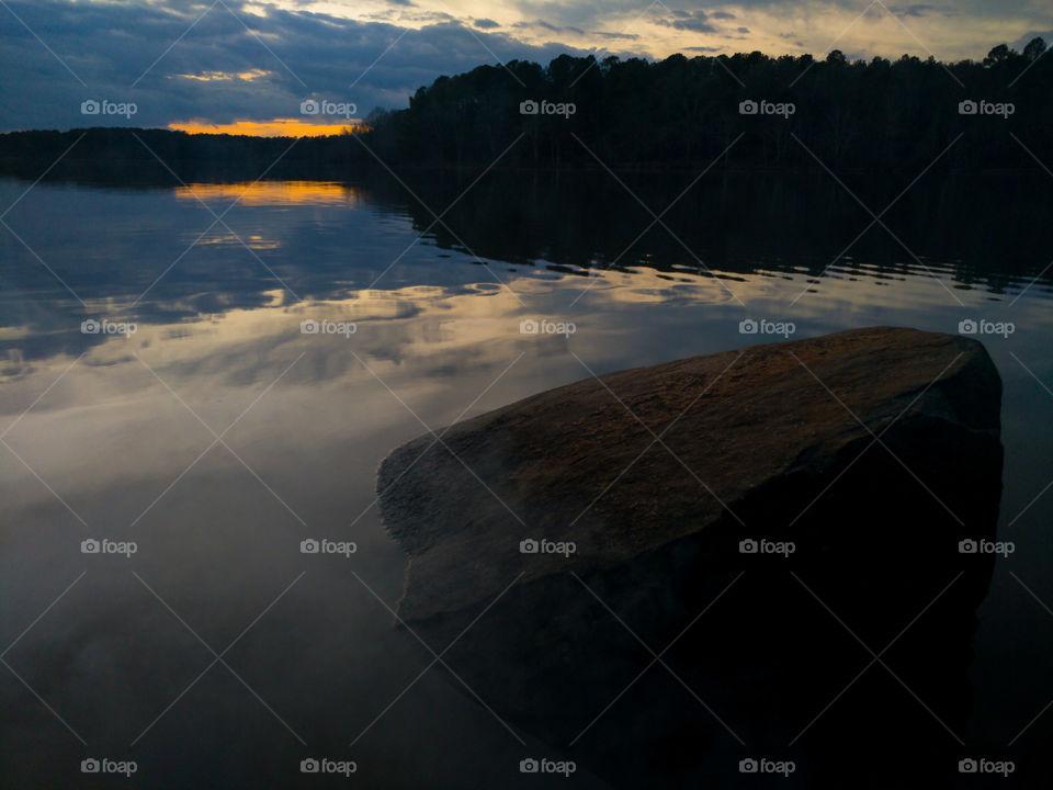 Foggy Stone lakeside