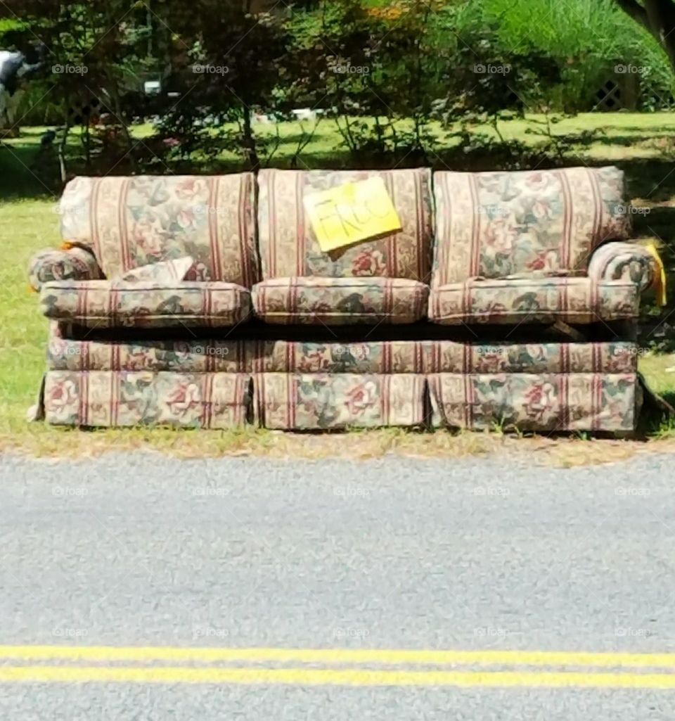 Free Couch w Sign on Side of Road