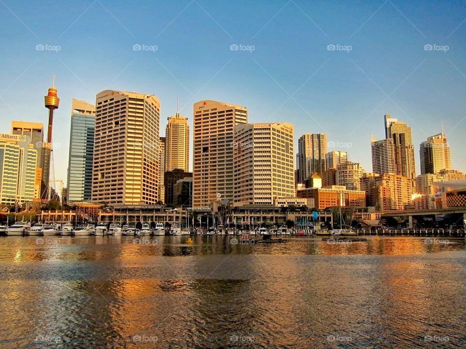 Sunset over Sydney Skyline. Sydney, Australia