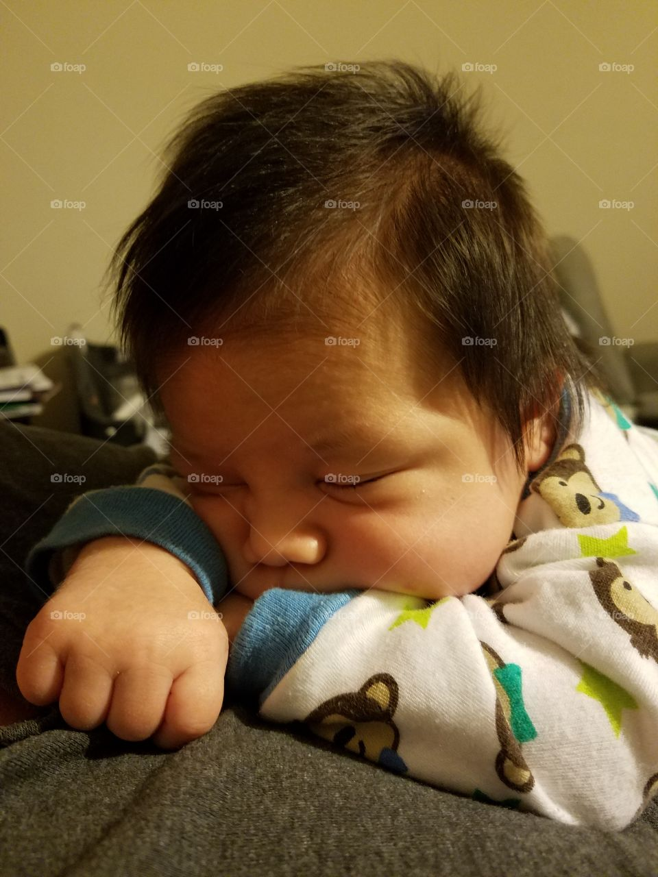 Close-up of asian boy sleeping