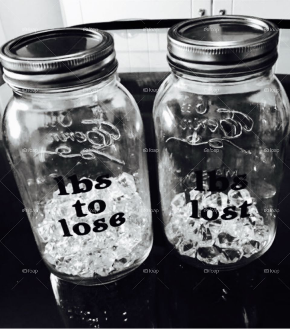 Motivational weight loss jars ready for the summer home made creation craft black and white