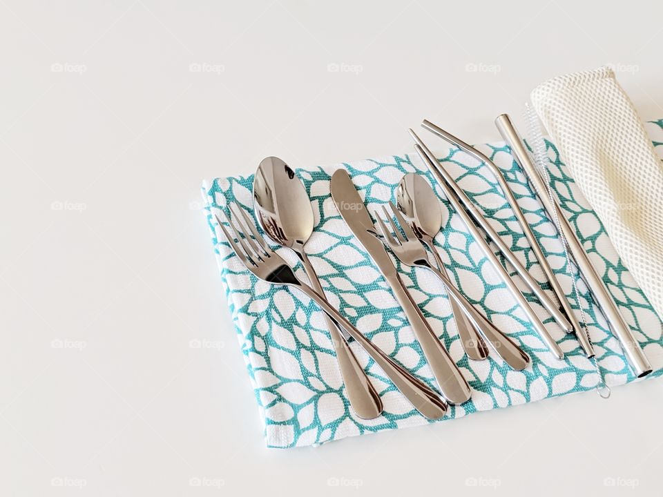 stainless steel utensils to go in a drawstring travel bag