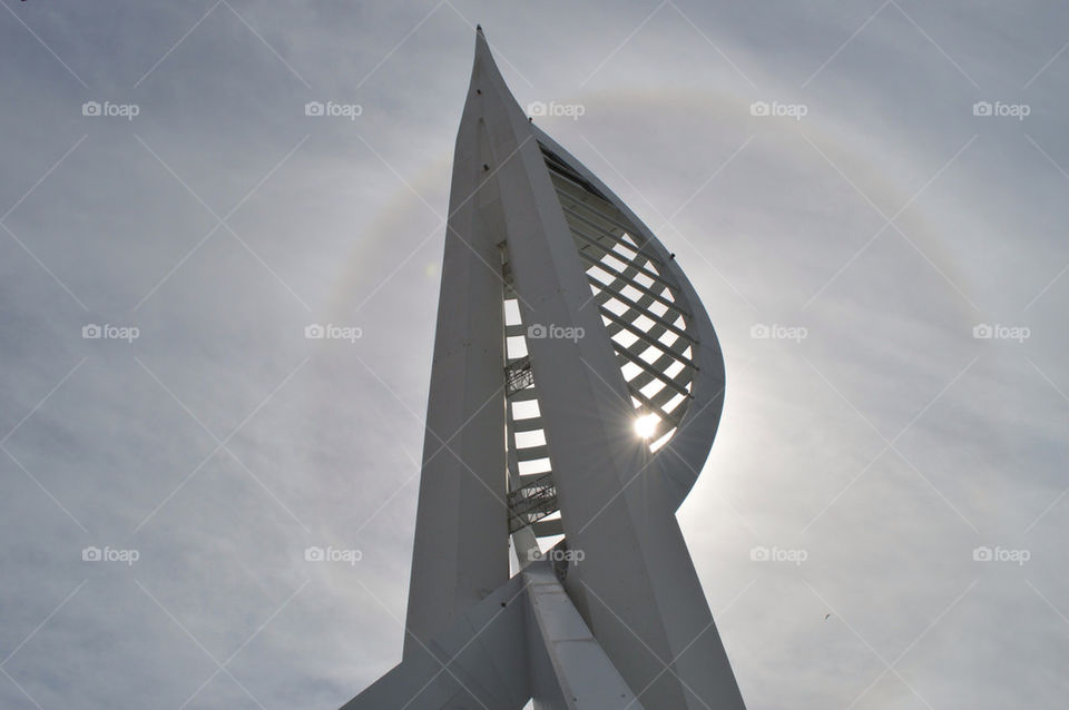 Spinnaker Tower in portsmouth with sun peeking through