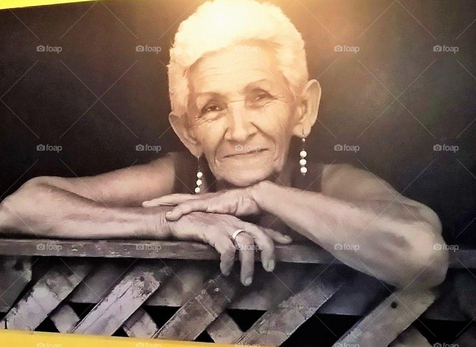 White Hair Smiling Lady