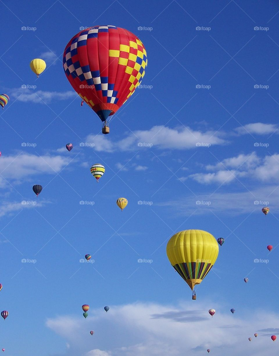 View of Hot air balloons in sky