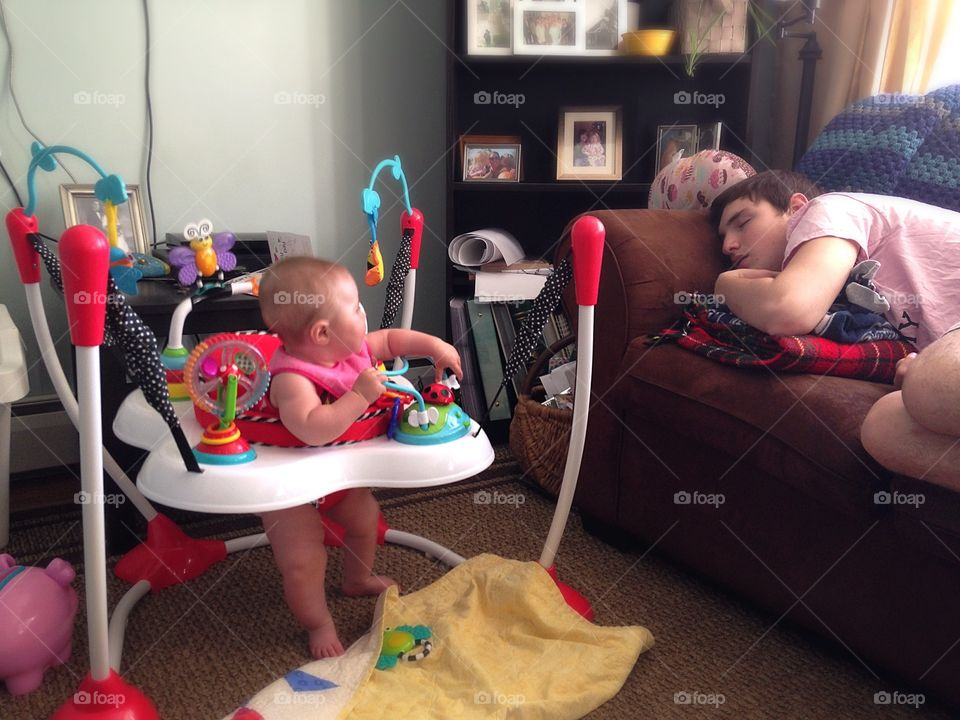 Shouldn't I be napping? . The baby watching her cousin sleep...