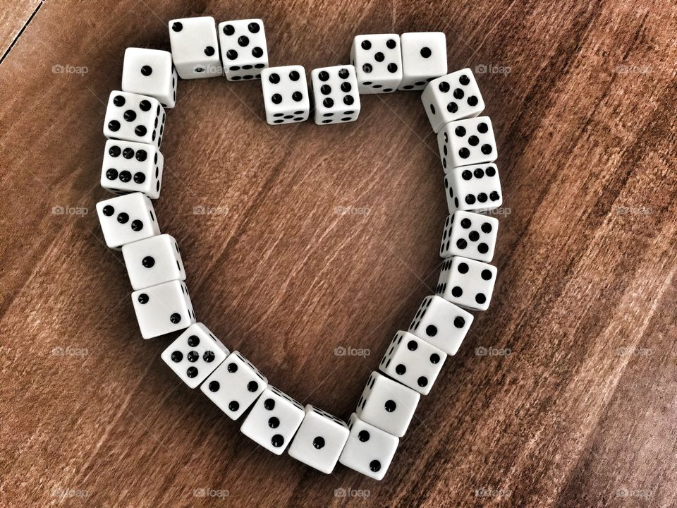 Heart made out of dice