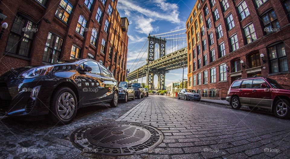 Iconic view of Manhattan Bridge from Dumbo, Brooklyn, NY