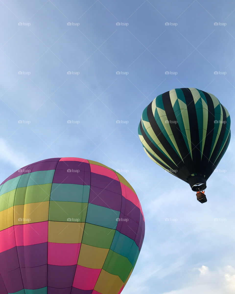 Colorful hot-air-balloons at a summer festival in Prineville in Central Oregon on a summer morning