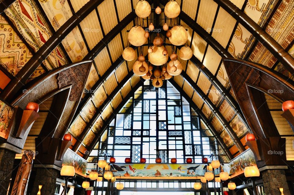 Stunning ceiling and stained glass windows in resort are chock full of rectangles and other beautiful shapes!!