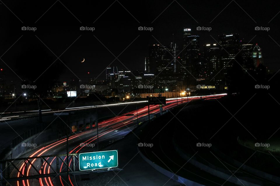 Downtown Los Angeles and the freeway