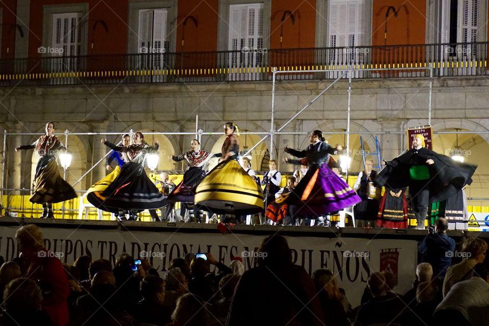 Traditional dancing in Plaza Mayor for Dia de la Almudena, Madrid