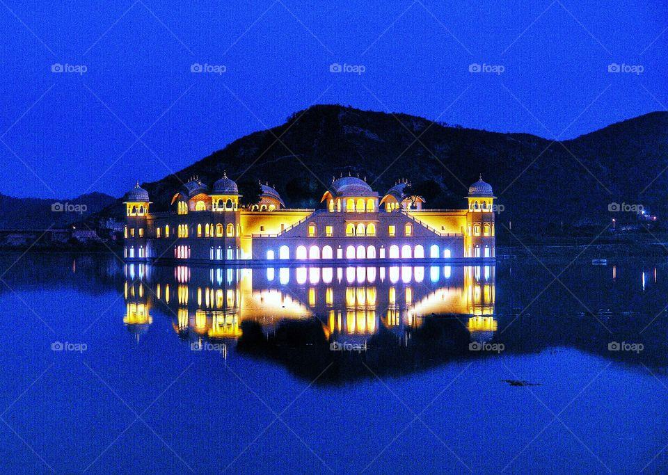 Water Palace Reflection, Ja Mahal, Man Sagar Lake, Jaipur, India . Water Palace, Ja Mahal, Man Sagar Lake, Jaipur, India
