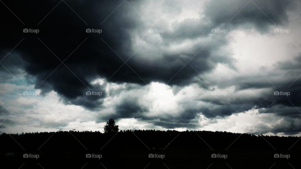 black & white clouds