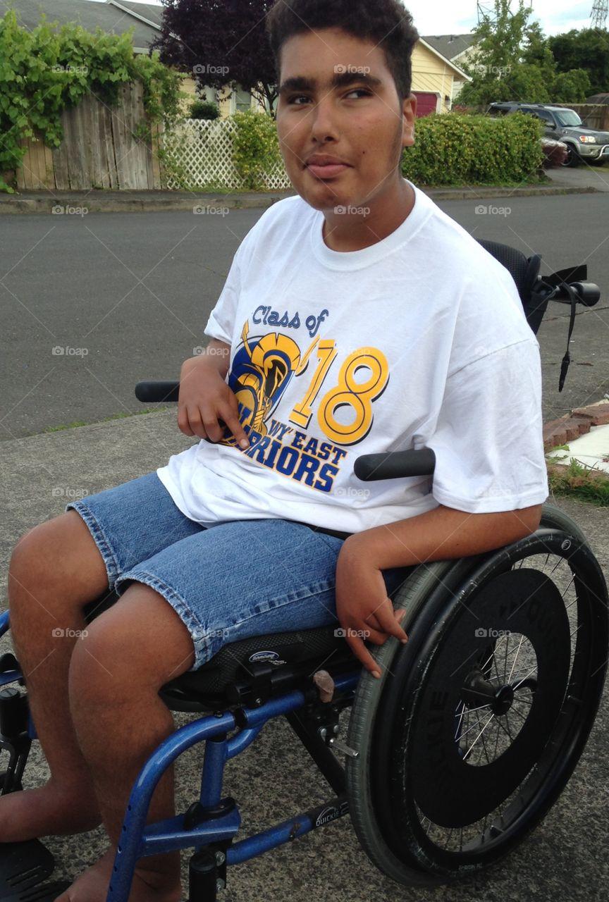Disable man on wheelchair