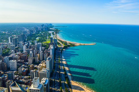Aerial view of Chicago city